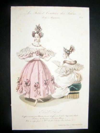 Lady's Magazine 1833 H/Col Fashion Print. Ball Dress 4 | Albion Prints